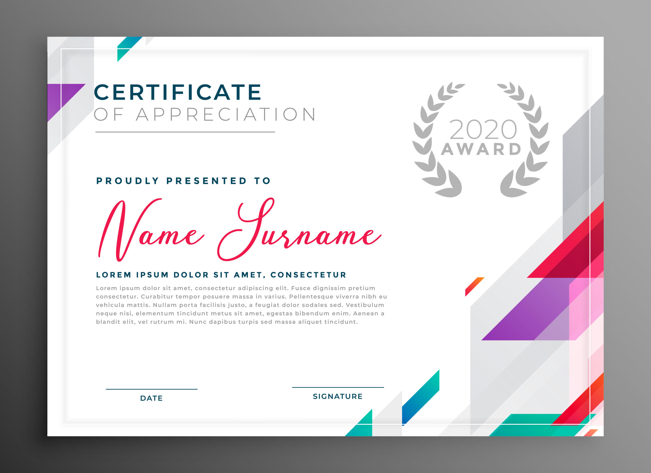 Modern Certificate Award Template Design  Download Free intended for Professional Award Certificate Template