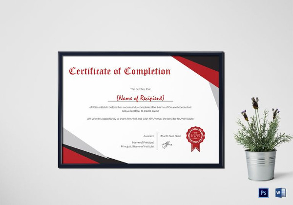 Modern Certificate Of Completion Template throughout Printable Certificate Of Completion Template Word