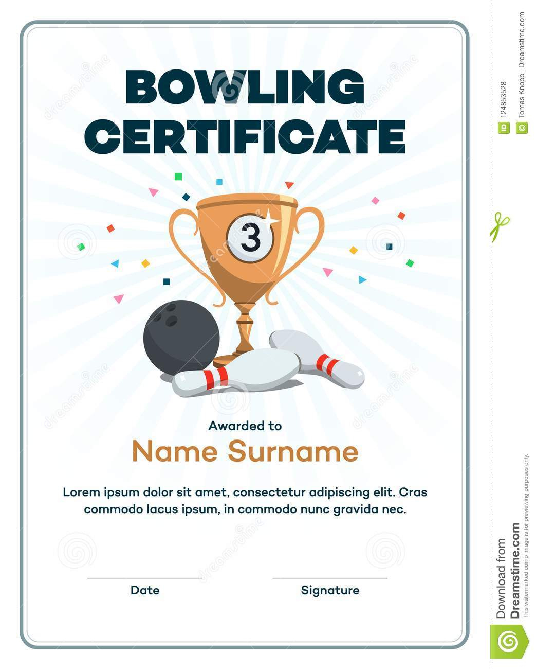 Modern Third Place Bowling Certificate Diploma With A throughout Printable Bowling Certificate Template Free 8 Frenzy Designs