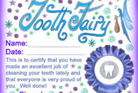 Modern Tooth Fairy Certificates  Rooftop Post Printables within Quality Free Tooth Fairy Certificate Template