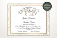 Modern Wedding Certificate Printable Certificate Of regarding Best Marriage Certificate Editable Templates