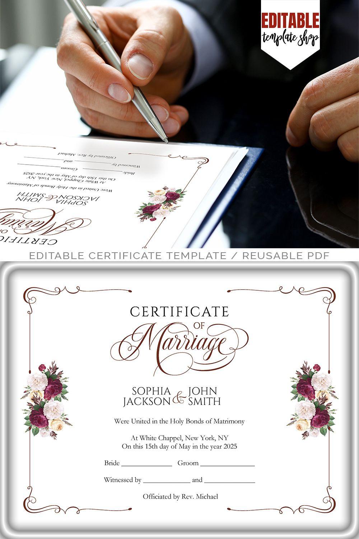 Modern Wedding Certificate Printable Certificate Of regarding Wedding Gift Certificate Template
