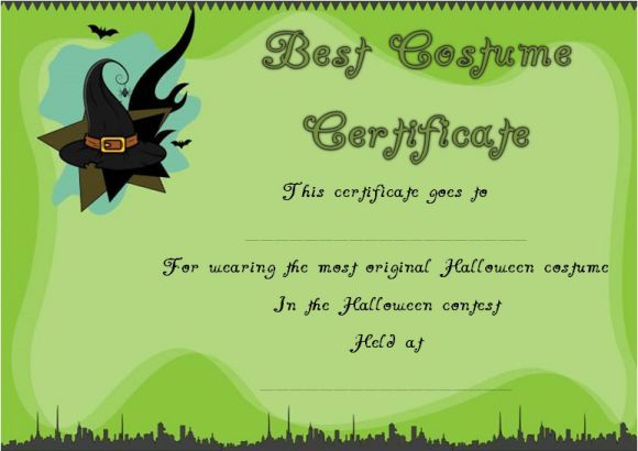 Most Original Halloween Costume Certificate  Halloween with Halloween Costume Certificate