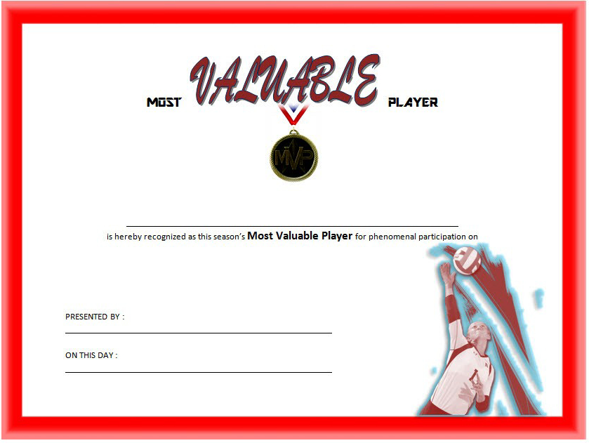 Most Valuable Player Certificate Template For Volleyball with Volleyball Certificate Templates