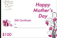 Mothers Day Gift Card  Gift Cards within Mothers Day Gift Certificate Templates
