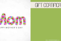 Mother'S Day Gift Certificate Templates within Mothers Day Gift Certificate Template