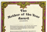 Mother'S Day Gift Large Blank Mother Of The Year Award in Amazing Mothers Day Gift Certificate Template
