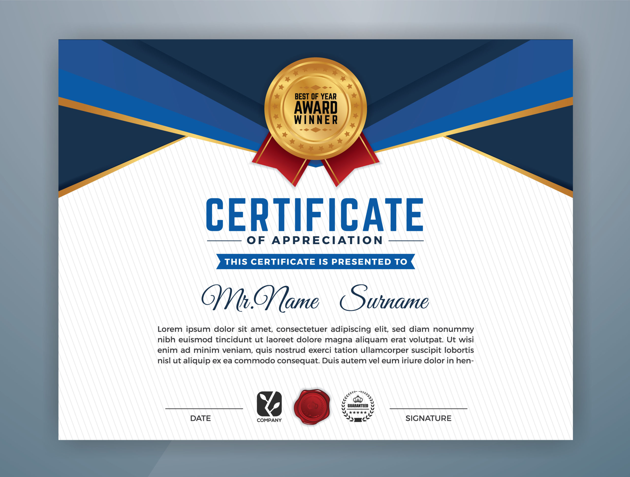 Multipurpose Modern Professional Certificate Template in Free Art Certificate Templates
