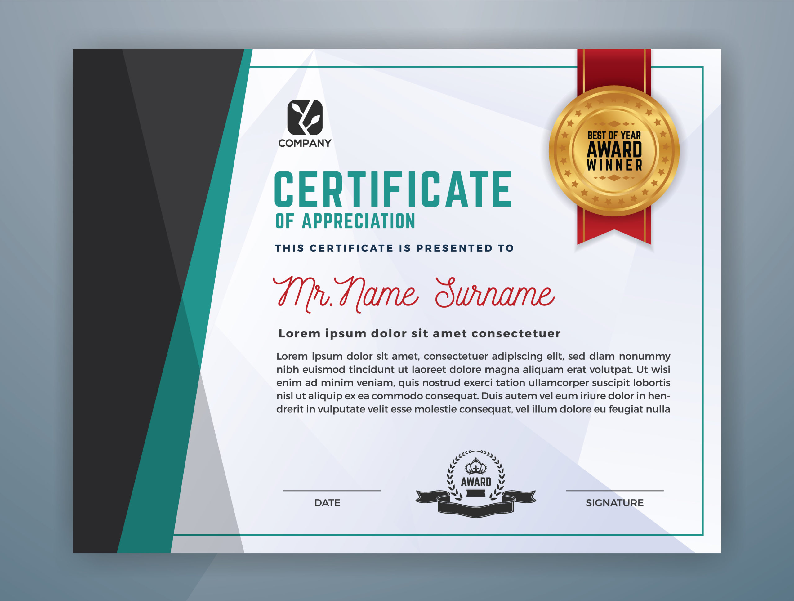 Multipurpose Modern Professional Certificate Template with Professional Award Certificate Template