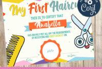 My First Haircut  Certificate  Printable  3Grafik with First Haircut Certificate