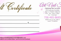Nail Gift Certificate Template Free  Great Sample Templates pertaining to Free Printable Hair Salon Gift Certificate Template