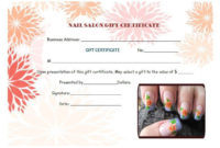 Nail Salon Gift Certificates  Gift Certificate Template with Free Spa Gift Certificate Templates For Word