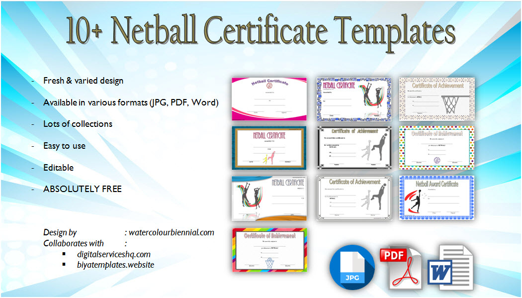 Netball Certificate Template 10 Best Designs Free Download within Printable Table Tennis Certificate Template Free
