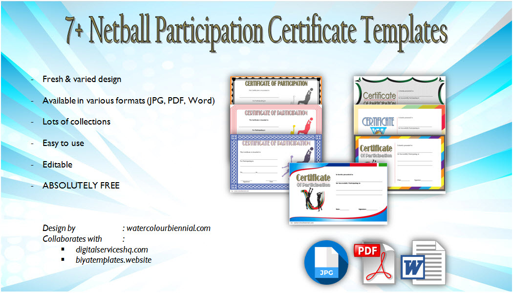 Netball Participation Certificate Templates 7 with regard to Printable Netball Certificate