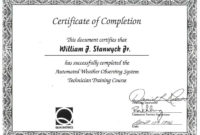 On The Job Training Certificate Of Completion  Calep For with Free Training Completion Certificate Templates