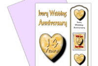 On Your 14Th Wedding Anniversary Card With Removable for Printable Anniversary Gift Certificate