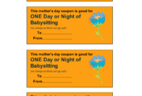 One Day Or Night Of Babysitting  Babysitting Coupon throughout 7 Babysitting Gift Certificate Template Ideas