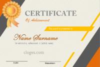 Orange Free Printable Certificate Of Achievement throughout Free Certificate Of Achievement Template Word