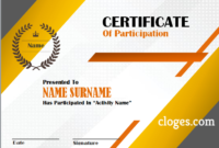 Orange Word Certificate Of Participation Template pertaining to Certificate Of Participation Template Ppt