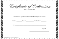 Ordination Certificate Template  Call To The Ministry Of within Free Ordination Certificate Template