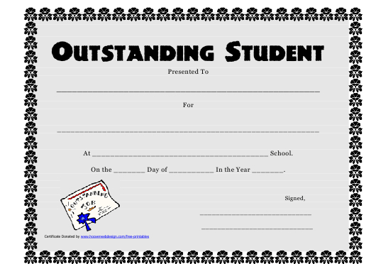 Outstanding Student Award Certificate Template Download throughout Outstanding Performance Certificate Template