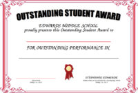 Outstanding Student Award Certificate Templates  Deola with Free Outstanding Student Leadership Certificate Template Free