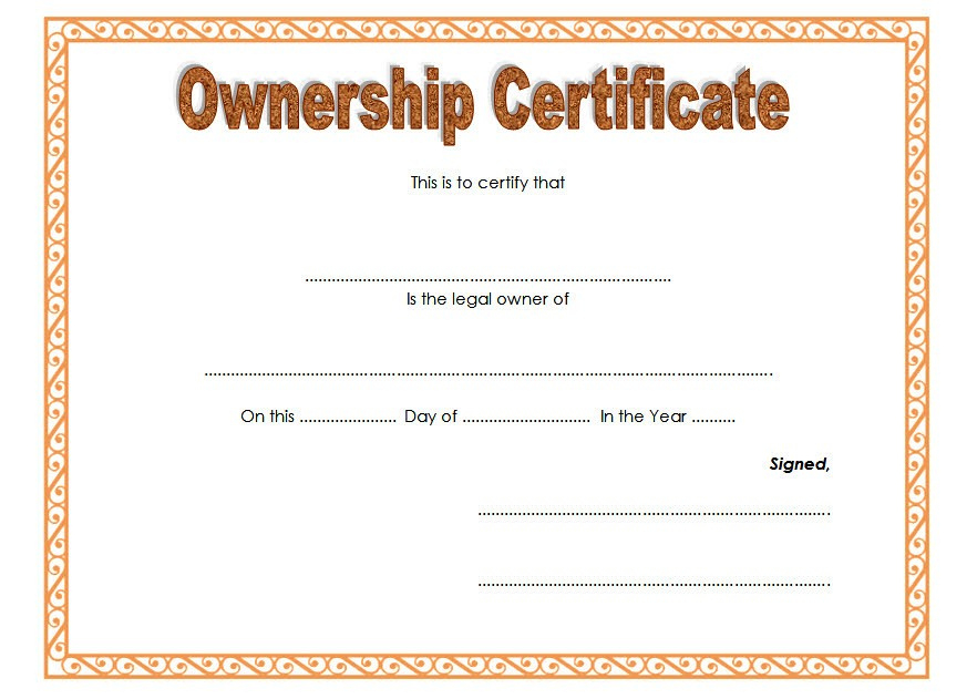 Ownership Certificate Templates Editable 10 Official in Sobriety Certificate Template 10 Fresh Ideas Free