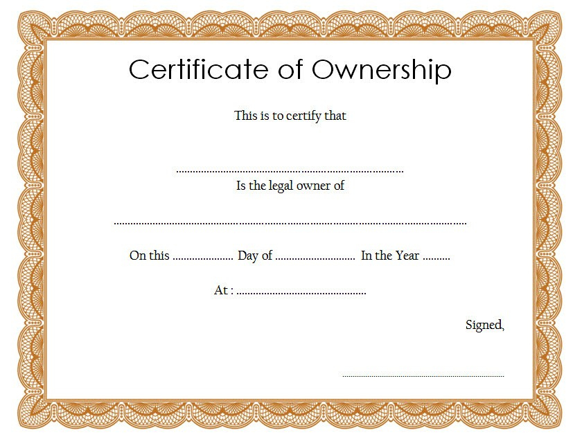 Ownership Certificate Templates Editable 10 Official Intended For Free 10 Certificate Of Stock Template Ideas