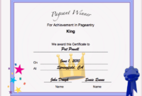Pageant King Achievement Printable Certificate inside Pageant Certificate Template