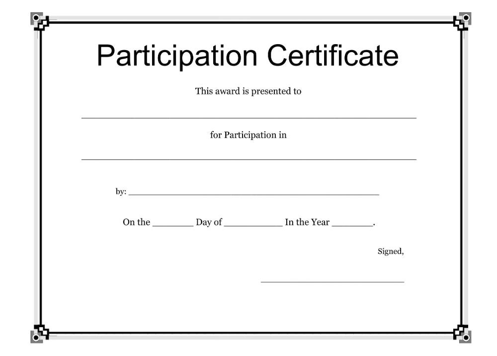Participation Certificate Template Free Download Regarding within Awesome Printable Tennis Certificate Templates 20 Ideas