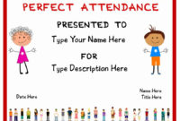 Perfect Attendance Award Printable Lovely 2019 Certificate inside Amazing Printable Perfect Attendance Certificate Template