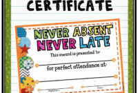 Perfect Attendance Certificate Free Download Inspirational within Perfect Attendance Certificate Template Editable