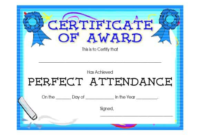 Perfect Attendance Certificate Template 4  Templates inside Amazing Printable Perfect Attendance Certificate Template