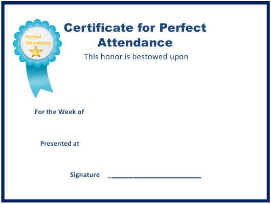 Perfect Attendance Certificate Template Download Fillable with regard to Vbs Attendance Certificate Template