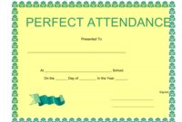 Perfect Attendance Certificate Template Download Printable with regard to Amazing Printable Perfect Attendance Certificate Template