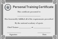 Personal Training Gift Certificate Template  Certificate with Army Certificate Of Completion Template