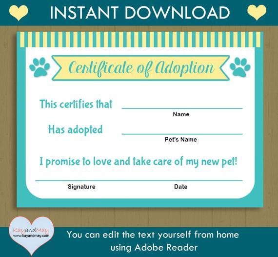 Pet Adoption Certificate / Instant Download Printable Pet regarding Cat Birth Certificate Free Printable