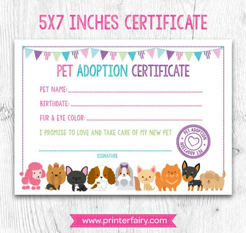 Pet Adoption Certificate Pet Adoption Birthday Party Puppy for Quality Puppy Birth Certificate Free Printable 8 Ideas