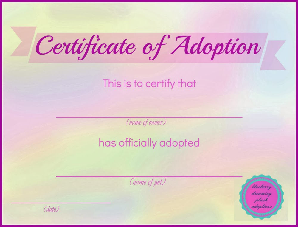 Pet Adoption Certificate Template 5  Best Templates Ideas regarding Dog Adoption Certificate Template