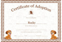 Pet Adoption Certificate Template Within Pet Adoption in Free Kitten Birth Certificate Template