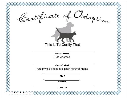 Pet Adoption Printable Certificate within Pet Adoption Certificate Template Free 23 Designs