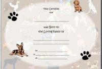 Pet Birth Certificate   Style Birth Certificates  3 with Service Dog Certificate Template Free 7 Designs