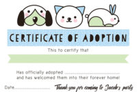 Pet Rescue Party Pretend 'Adoption Certificate'  Blue with Stuffed Animal Birth Certificate Template 7 Ideas