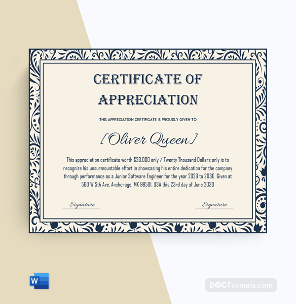 Pin On Appreciation Certificate Template  88 Editable throughout Printable Employee Anniversary Certificate Template
