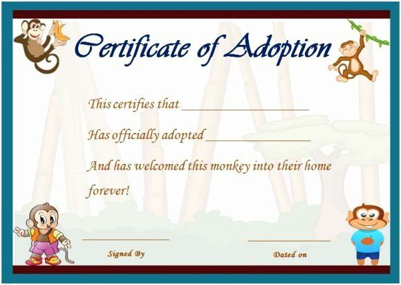 Pin On Certificate Customizable Design Templates with Amazing Stuffed Animal Adoption Certificate Template Free