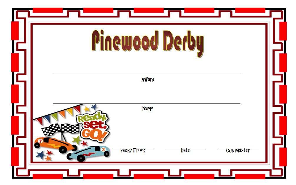Pinewood Derby Certificate Template  7 Greatest Designs in Drama Certificate Template Free 10 Fresh Concepts