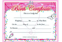 Pinjoko On Certificate Template  Birth Certificate in Awesome Novelty Birth Certificate Template