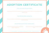 Pink And Blue Pet Adoption Certificate  Pet Adoption throughout Awesome Rabbit Adoption Certificate Template 6 Ideas Free