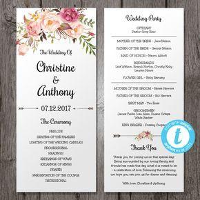 Pink Floral Wedding Program Instant Download Bohemian for Wedding Reception Agenda Template
