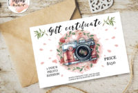 Pink Flowers Gift Certificate Instant Download within Printable Photography Gift Certificate Template